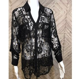 express M sheer lace blouse